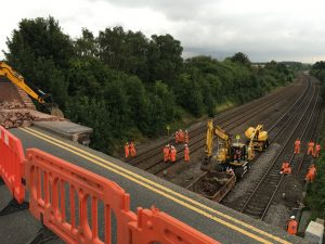 Network Rail engineers on site repairing a collapsed bridge in Barrow upon Soar, Leicestershire