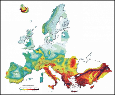 Zones at most risk from Earthquakes in Europe