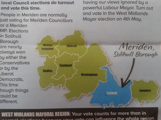 Andy Street produces a map showing the Merden constituency for those who don't know where it is, like Andy Streets' campaign team