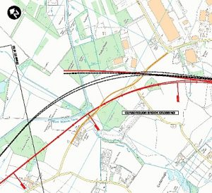 How the HS2 route was moved (from the black to the red) to avoid the Trent and Mersey Canal in 2015