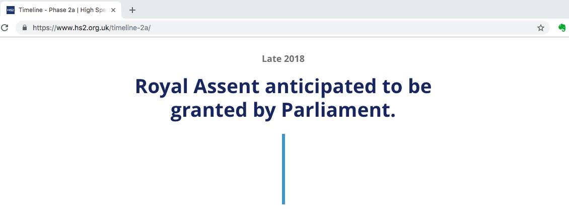 """""""Late 2018 Royal Assent anticipated to be granted by Parliament."""" says HS2's website in January 2019"""