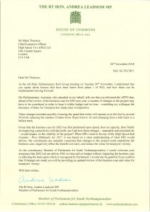 Andrea Leadsom writes to to Mark Thurston with concerns re proposed speed reduction at build stage