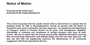 Text of Bucks CC motion to halt HS2 enabling works