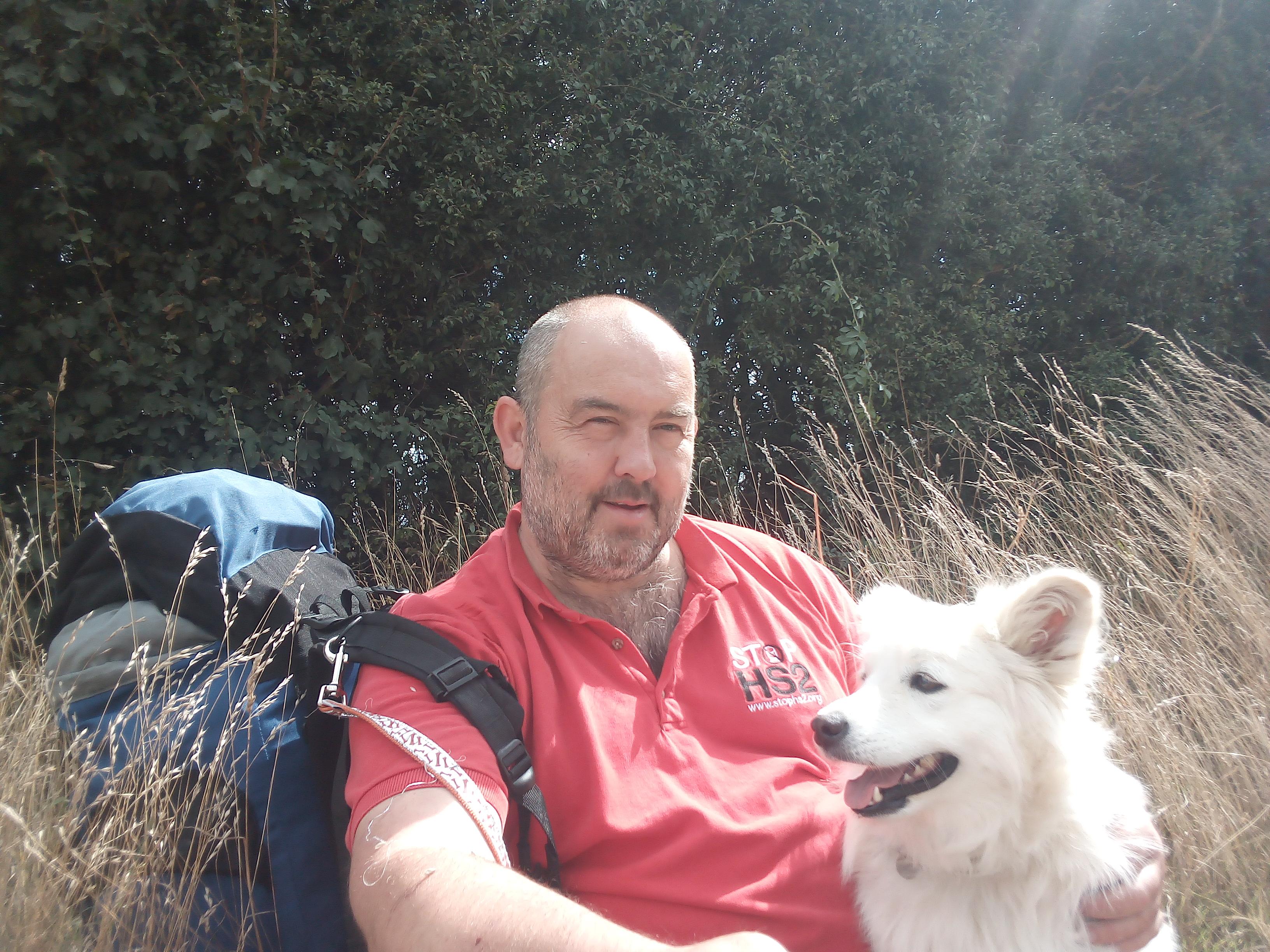 Joe Rukin and Eevie the dog