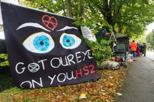 Got our eyes on you HS2 sign at the Protection Camp in Great Missenden