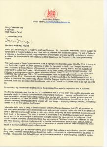 Lord Berkeley's letter to Doug Oakervee